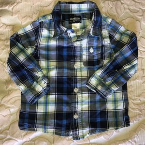 Blue and Green plaid button down shirt